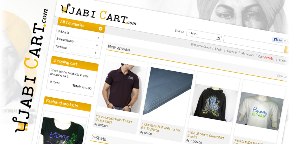 Home page with products listed as New arrival, Featured and category wise.